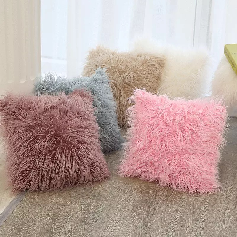 Fluffy Throw Pillows Solid Color 45 45cm Throw Pillow Cover Mymarket